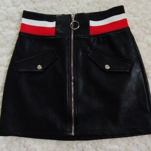 Signatures High-Waisted Faux Leather Skirt